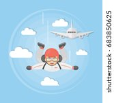 skydiving active sport. man in... | Shutterstock . vector #683850625