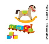 baby wooden toys train  rocking ... | Shutterstock .eps vector #683851252