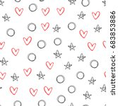 seamless pattern with outlines... | Shutterstock .eps vector #683853886