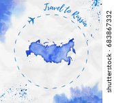 russia watercolor map in blue... | Shutterstock .eps vector #683867332
