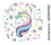 unicorn and pop art elements | Shutterstock .eps vector #683869882