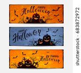 lettering happy halloween on...   Shutterstock .eps vector #683872972