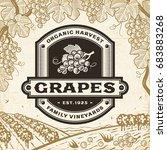 retro grapes label on harvest...   Shutterstock . vector #683883268
