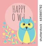 cute owl with flowers and... | Shutterstock .eps vector #683885782