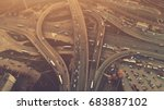 aerial high drone flight over... | Shutterstock . vector #683887102
