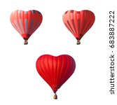 striped red air balloon set in... | Shutterstock . vector #683887222
