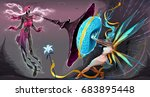 fear and courage  battle in the ... | Shutterstock .eps vector #683895448