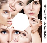 woman faces with plastic arrows ... | Shutterstock . vector #683896636