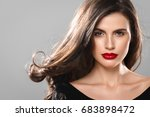 beauty woman face portrait.... | Shutterstock . vector #683898472