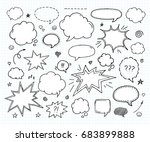 hand drawn set of speech bubbles | Shutterstock .eps vector #683899888