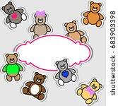 set of teddy bear. vector... | Shutterstock .eps vector #683903398