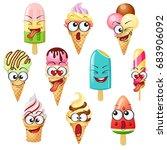 cartoon ice cream characters ... | Shutterstock .eps vector #683906092