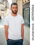 hipster handsome male model... | Shutterstock . vector #683906866