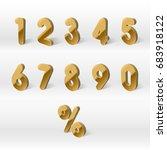 3d yellow golden numbers.... | Shutterstock .eps vector #683918122