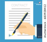 flat design document signing... | Shutterstock .eps vector #683928412