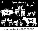 vector farm animals silhouettes ... | Shutterstock .eps vector #683933536