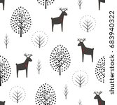 deer and trees seamless pattern ... | Shutterstock .eps vector #683940322