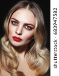 young beautiful glamorous woman ... | Shutterstock . vector #683947582