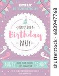 vector invitation card for kids ... | Shutterstock .eps vector #683947768
