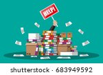 stressed cartoon businessman in ... | Shutterstock .eps vector #683949592