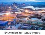 overpass of the light trails ... | Shutterstock . vector #683949898