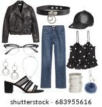 set of stylish clothes ... | Shutterstock . vector #683955616