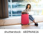 black woman working with laptop ... | Shutterstock . vector #683964616
