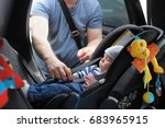 father fasten his little son in ... | Shutterstock . vector #683965915