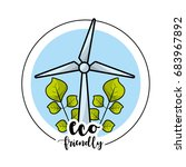 ecological windpower with... | Shutterstock .eps vector #683967892
