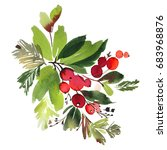 christmas watercolor card with...   Shutterstock . vector #683968876