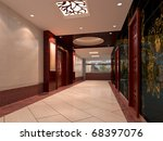 futuristic corridor modern. 3d... | Shutterstock . vector #68397076