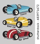Vintage Race Cars Typography T...