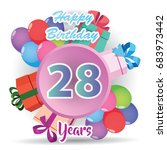 color full pink 28 th birthday...   Shutterstock .eps vector #683973442