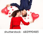 young loving couple lies on a... | Shutterstock . vector #683990485