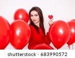 beautiful brunette young girl...   Shutterstock . vector #683990572