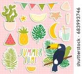 set of cute summer stickers.... | Shutterstock .eps vector #683993746