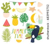 set of cute summer stickers.... | Shutterstock .eps vector #683993752
