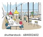 hand drawn coworking cluster.... | Shutterstock .eps vector #684002602