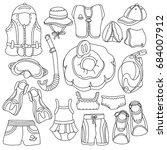 doodle sketch swimming goods... | Shutterstock . vector #684007912