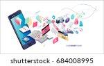 isometric concept of smartphone ... | Shutterstock .eps vector #684008995