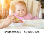 a cheerful happy child eats... | Shutterstock . vector #684010426