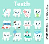 set of funny icons of teeth.... | Shutterstock .eps vector #684020212