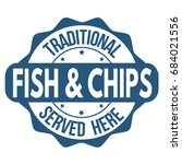 fish and chips sign or stamp on ... | Shutterstock .eps vector #684021556