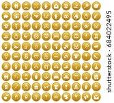 100 love icons set gold   Shutterstock .eps vector #684022495