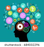 child head.children learn to... | Shutterstock .eps vector #684032296