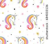 seamless rainbow unicorns...   Shutterstock .eps vector #684033136