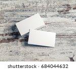 blank white business cards on...   Shutterstock . vector #684044632
