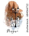 watercolor background of prague | Shutterstock .eps vector #684066712