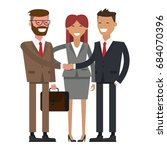 people at work with handshaking ... | Shutterstock .eps vector #684070396