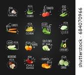 vegetables chalkboard set of... | Shutterstock .eps vector #684070966